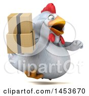 3d Chubby White Chicken Holding Boxes On A White Background