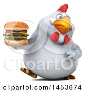 3d Chubby White Chicken Holding A Burger On A White Background