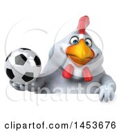 3d Chubby White Chicken Holding A Soccer Ball On A White Background