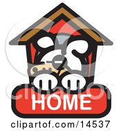 Tired Dog Napping In His Dog House On A Home Internet Web Icon