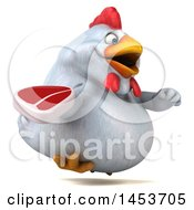 3d Chubby White Chicken Holding A Steak On A White Background
