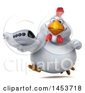 Clipart Graphic Of A 3d Chubby White Chicken Holding A Plane On A White Background Royalty Free Illustration