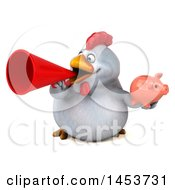 3d Chubby White Chicken Holding A  On A White Background