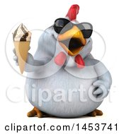 3d Chubby White Chicken Holding An Ice Cream Cone On A White Background