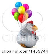 Poster, Art Print Of 3d Chubby White Chicken Holding Party Balloons On A White Background