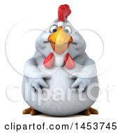 Clipart Graphic Of A 3d Fat Chubby White Chicken On A White Background Royalty Free Illustration