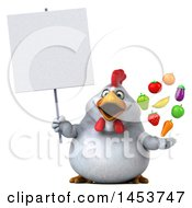 Poster, Art Print Of 3d Chubby White Chicken Holding Produce On A White Background