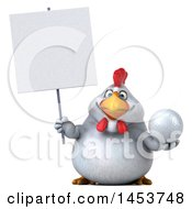 Poster, Art Print Of 3d Chubby White Chicken Holding A Golf Ball On A White Background