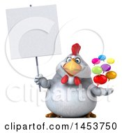 3d Chubby White Chicken Holding Speech Bubbles On A White Background
