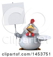 3d Chubby White Chicken Holding A Plate On A White Background