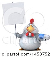 3d Chubby White Chicken Holding A Pill On A White Background