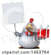 Poster, Art Print Of 3d Chubby White Chicken Holding A Gift On A White Background