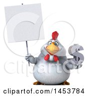 Poster, Art Print Of 3d Chubby White Chicken Holding A Dollar Sign On A White Background