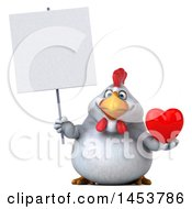 Poster, Art Print Of 3d Chubby White Chicken Holding A Love Heart On A White Background