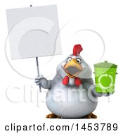 3d Chubby White Chicken Holding A Recycle Bin On A White Background