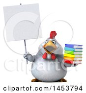 3d Chubby White Chicken Holding A Stack Of Books On A White Background