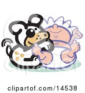 Poster, Art Print Of Cute Dog Tickling A Babys Belly