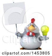 Poster, Art Print Of 3d Chubby White Chicken Holding A Light Bulb On A White Background