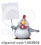 3d Chubby White Chicken Holding A Wrench On A White Background