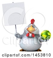 3d Chubby White Chicken Holding A Globe On A White Background