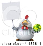 Poster, Art Print Of 3d Chubby White Chicken Holding A Globe On A White Background