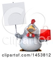 3d Chubby White Chicken Holding A Shopping Bag On A White Background