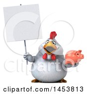 Poster, Art Print Of 3d Chubby White Chicken Holding A  On A White Background
