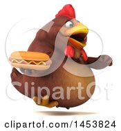 3d Chubby Brown Chicken Holding A Hot Dog On A White Background