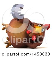 Poster, Art Print Of 3d Chubby Brown Chicken Holding A Euro Symbol On A White Background