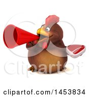 3d Chubby Brown Chicken Holding A Steak On A White Background