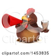3d Chubby Brown Chicken Holding A Beer On A White Background