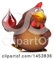 3d Chubby Brown Chicken Holding A Blood Drop On A White Background