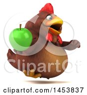 3d Chubby Brown Chicken Holding A Green Apple On A White Background