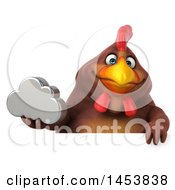 3d Chubby Brown Chicken Holding A Cloud On A White Background