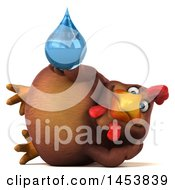 3d Chubby Brown Chicken Holding A Water Drop On A White Background