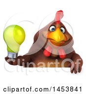 Poster, Art Print Of 3d Chubby Brown Chicken Holding A Light Bulb On A White Background