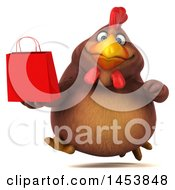 3d Chubby Brown Chicken Holding A Shopping Bag On A White Background