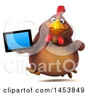 3d Chubby Brown Chicken Holding A Tablet Computer On A White Background