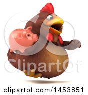 3d Chubby Brown Chicken Holding A Piggy Bank On A White Background