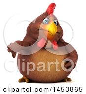 3d Chubby Brown Chicken Giving A Thumb Down On A White Background
