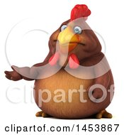 3d Chubby Brown Chicken Presenting On A White Background