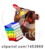 3d Chubby Brown Chicken Holding Books On A White Background