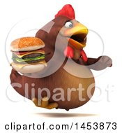 3d Chubby Brown Chicken Holding A Burger On A White Background