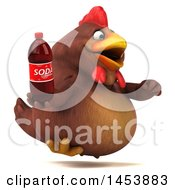 3d Chubby Brown Chicken Holding A Soda Bottle On A White Background