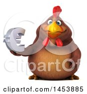 3d Chubby Brown Chicken Holding A Euro Symbol On A White Background