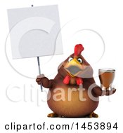 Poster, Art Print Of 3d Chubby Brown Chicken Holding A Beer On A White Background