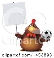 3d Chubby Brown Chicken Holding A Soccer Ball On A White Background