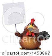 3d Chubby Brown Chicken Holding A Camera On A White Background