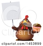 3d Chubby Brown Chicken Holding A Cupcake On A White Background