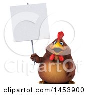 3d Chubby Brown Chicken Holding A Blank Sign On A White Background
